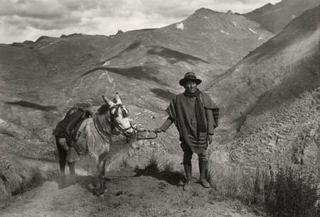 Self-portrait near native village of Coaza Carabaya, Puno, ca 1930.